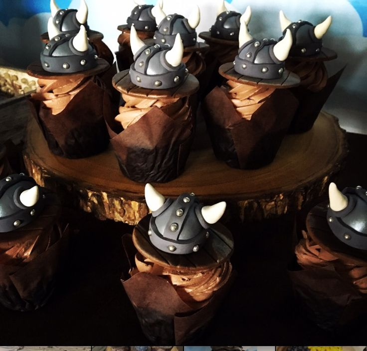 Viking helmet cupcake toppers  https://www.facebook.com/mudpieparties/