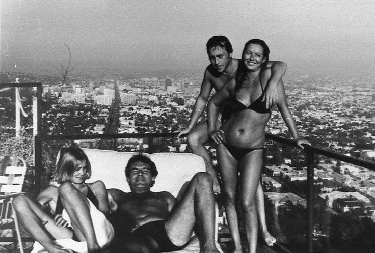 Джессика Лэнг, Милош Форман, Владимир Высоцкий, Марина Влади. США, Лос-Анджелес, 1976 год