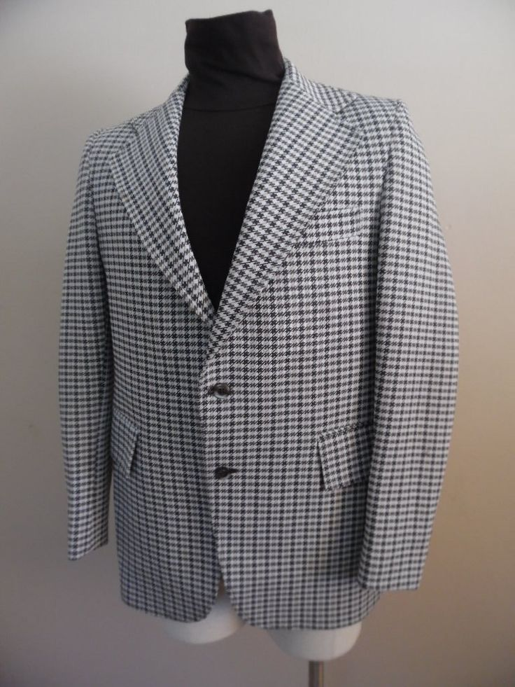 Vintage 1970s Union-Made Polyester Brown, Tan and Creme Houndstooth Hipster, Men's Sports Jacket, Coat, Blazer by The Treasury by LetasVintage on Etsy https://www.etsy.com/listing/498405206/vintage-1970s-union-made-polyester-brown