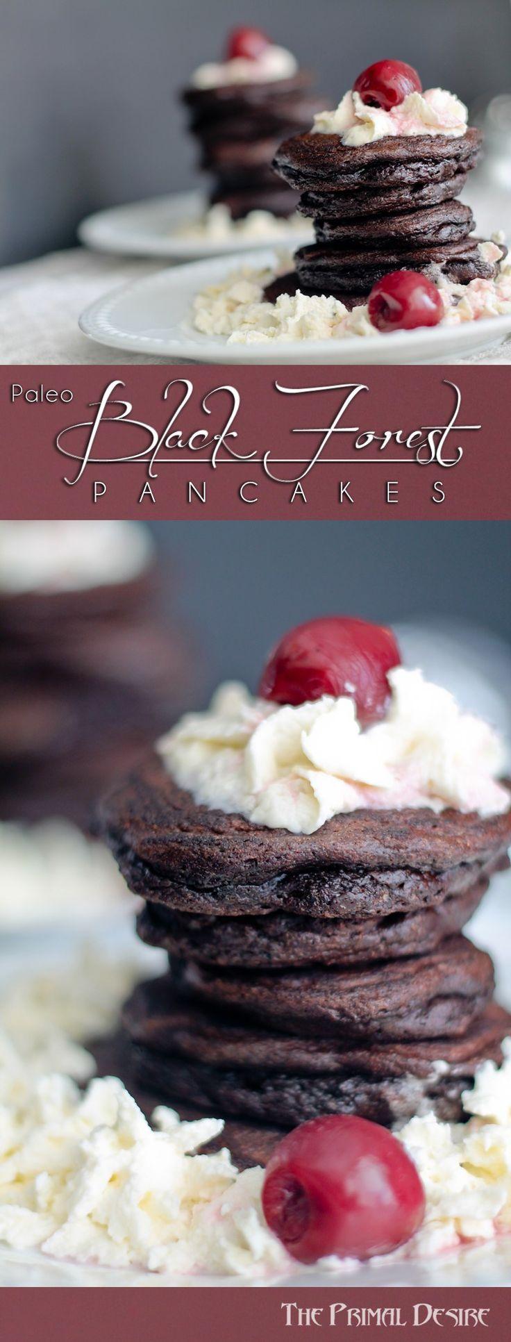 Paleo Black Forest Pancakes - Rich chocolate pancakes, tart cherries ...