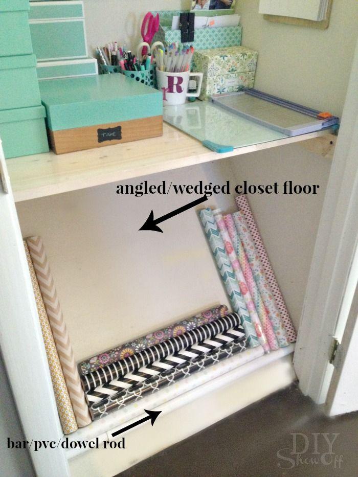 Organization Idea: wrapping paper storage utilizing angled closet floor space!