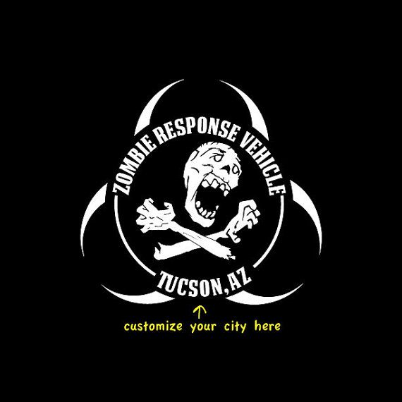 Zombie response vehicle sticker by zombiesurvivorz on etsy 3 50