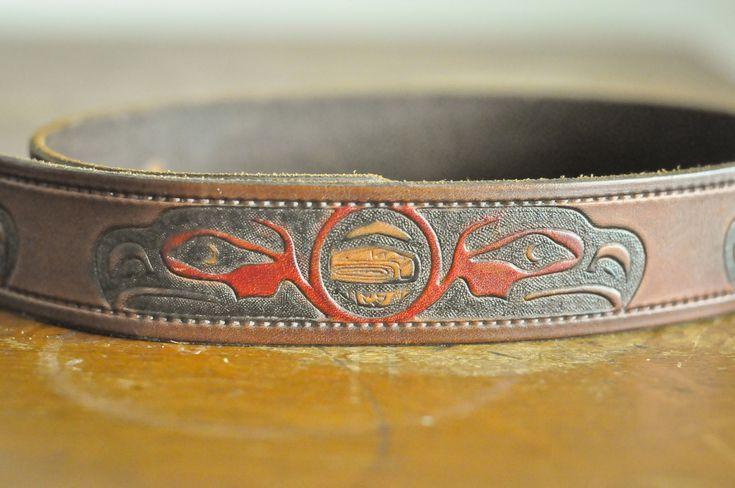 Vintage Leather Belt Northwest Coast Native American Eagle Motif by drowsySwords on Etsy