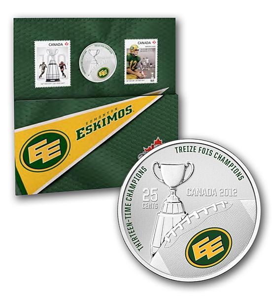 2012 25-Cent Coloured Coin and Stamp Set- Edmonton Eskimos / Ensemble pièce de 25 cents colorée et timbres 2012- Eskimos d'Edmonton