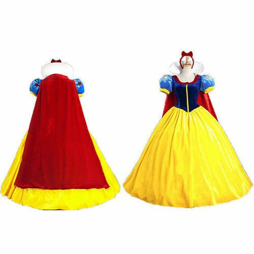 Snow White Costume Cosplay Adult+Petticoat Fairytale Princess Ladies Fancy Dress