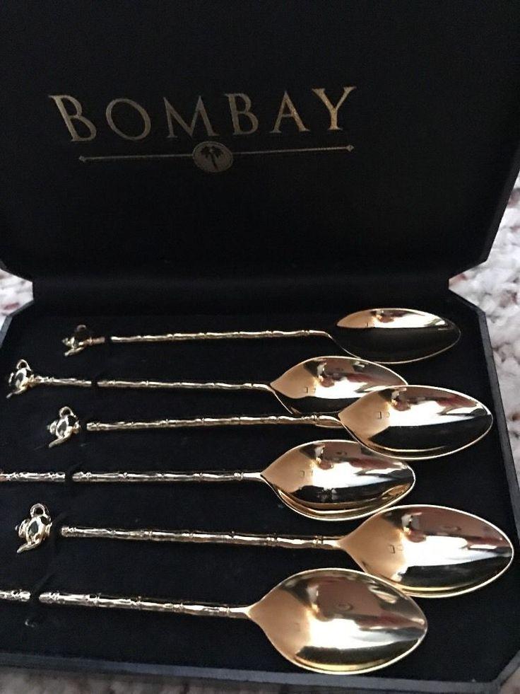 Bombay Company Demitasse Tea Spoons Gold Tone Tea Pot Bamboo