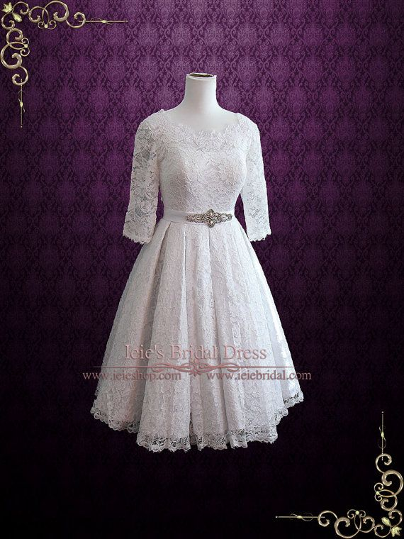 Vintage Style thee lengte Geplooide Kant bruidsjurk met door ieie