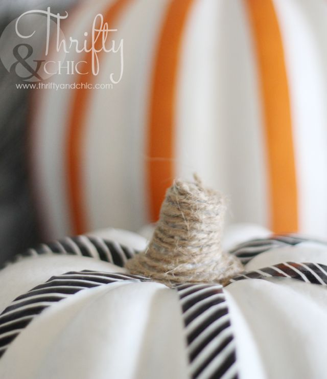 Jute covered stems with white painted pumpkins and Washi Tape