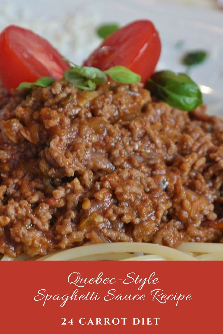 Quebec-style spaghetti sauce is thick and meaty with a mellow taste. Serve with pasta or use it as a starter for another recipe.