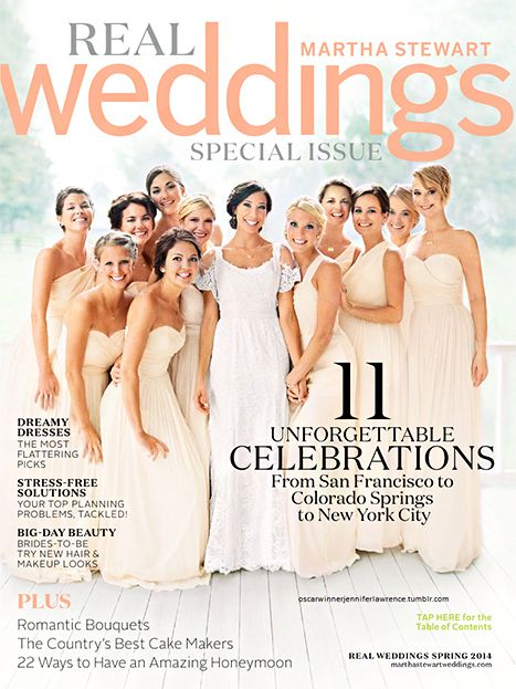 Jennifer Lawrence on the cover of Martha Stewarts Wedding's as a bridesmaid!