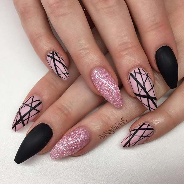 Black And Pink Nails Black Nails With Glitter Black Nail