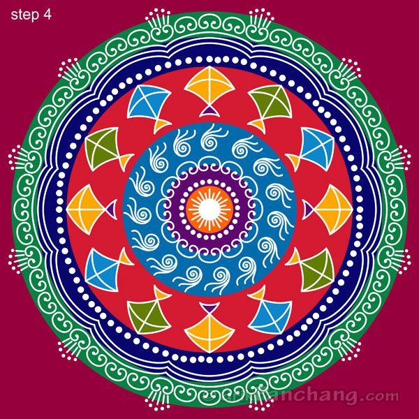 This page provides Sankranti Rangoli Designs with title Sankranti Rangoli 28 for Hindu festivals.