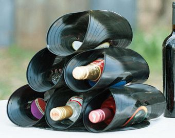 RECORDS Wine Rack, eco-friendly kitchen modern wine rack, handmade wine rack, unique wine rack, music lover gift, wine bottle holder storage