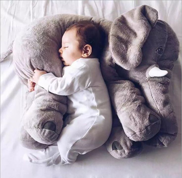 Gris Elefante Almohadas Cojín Grande Bebé de Peluche Juguete Animal de Peluche para Niños de Regalo