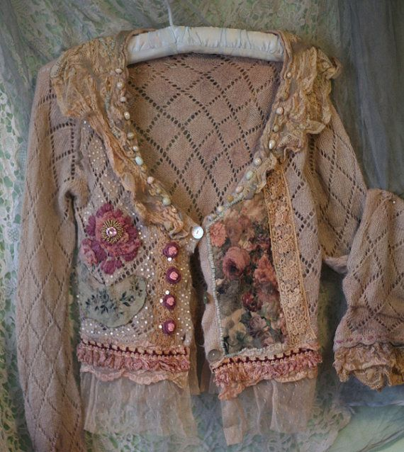 reworked vintage cardi by FleurBonheurn (have pink sweater - time to REWORK it to look like this)