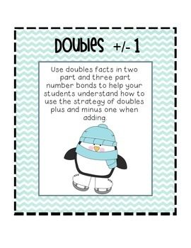 Help your students learn the strategy of doubles plus and minus one by using two and three part number bonds.