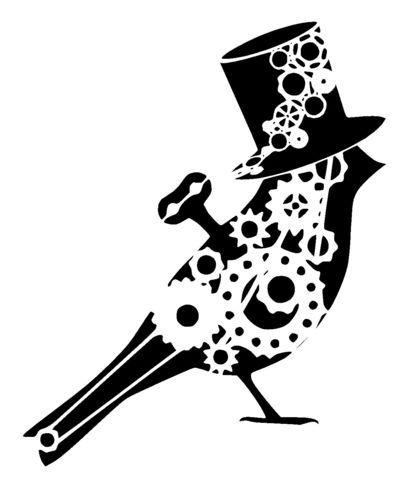 steampunk cogs bird in top hat stencil