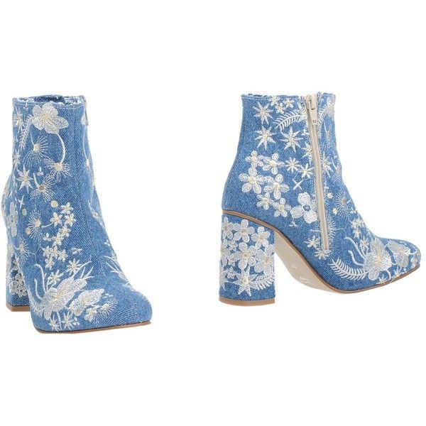 Divine Follie Ankle Boots (9.115 RUB) ❤ liked on Polyvore featuring shoes, boots, ankle booties, blue, zipper booties, blue ankle boots, embroidered ankle boots, zip ankle boots and ankle boots