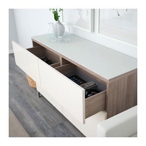 BESTÅ Storage combination with drawers - walnut effect light gray/Selsviken high-gloss/white, drawer runner, soft-closing - IKEA