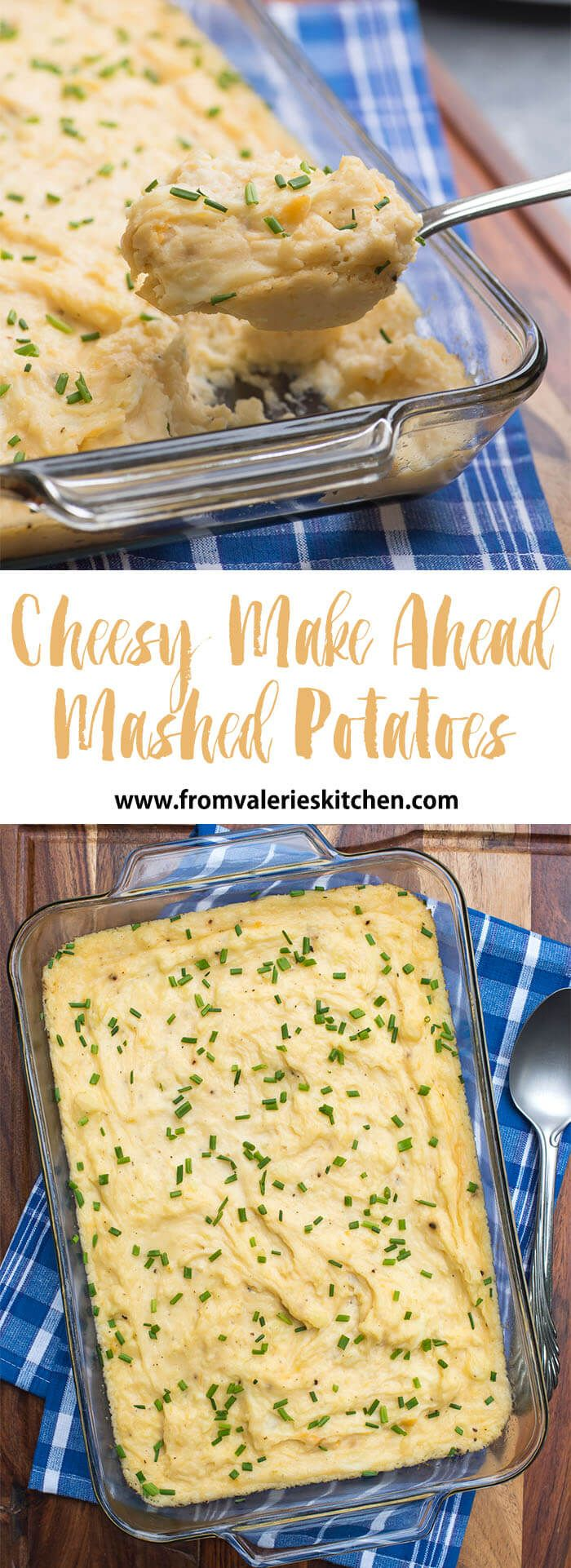 These Cheesy Make Ahead Mashed Potatoes are a fabulous way to make your holiday meal prep a whole lot easier. Make them a day or two in advance and check them off your list!