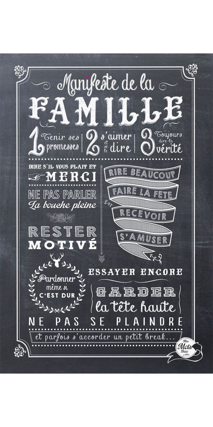manifeste de la famille affiche mes mots deco mots et merveilles pinterest cuisine. Black Bedroom Furniture Sets. Home Design Ideas