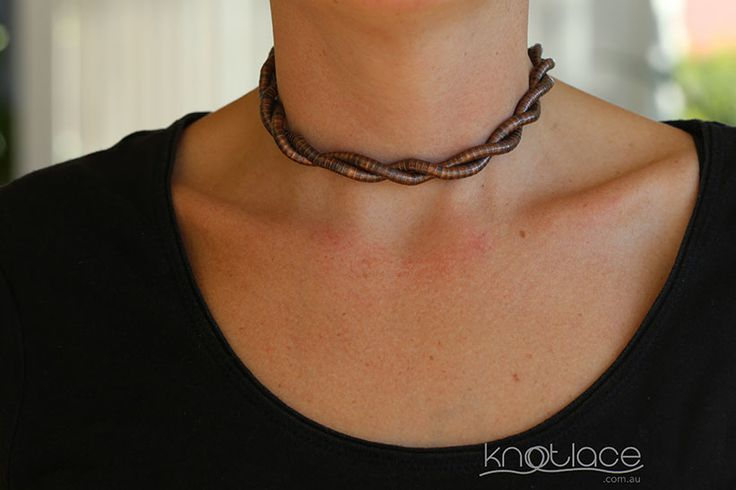Knotlace or bendy necklace 5mm width in copper worn as a choker - www.knotlace.com.au #style #fashion #accessory #jewellery