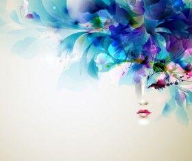 Piękne kobiety twarz z akwareli kwiat wektora 02