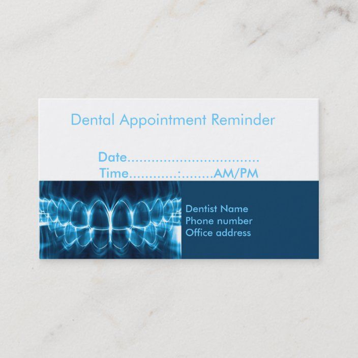 Dentist Appointment Reminder Zazzle Com Dentist Appointment Dental Business Cards Appointment Cards