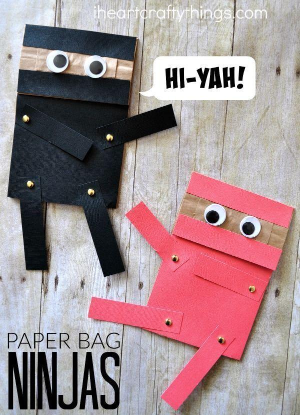 Paper Bag Ninja Craft For Kids Hi Yah Arts And Crafts
