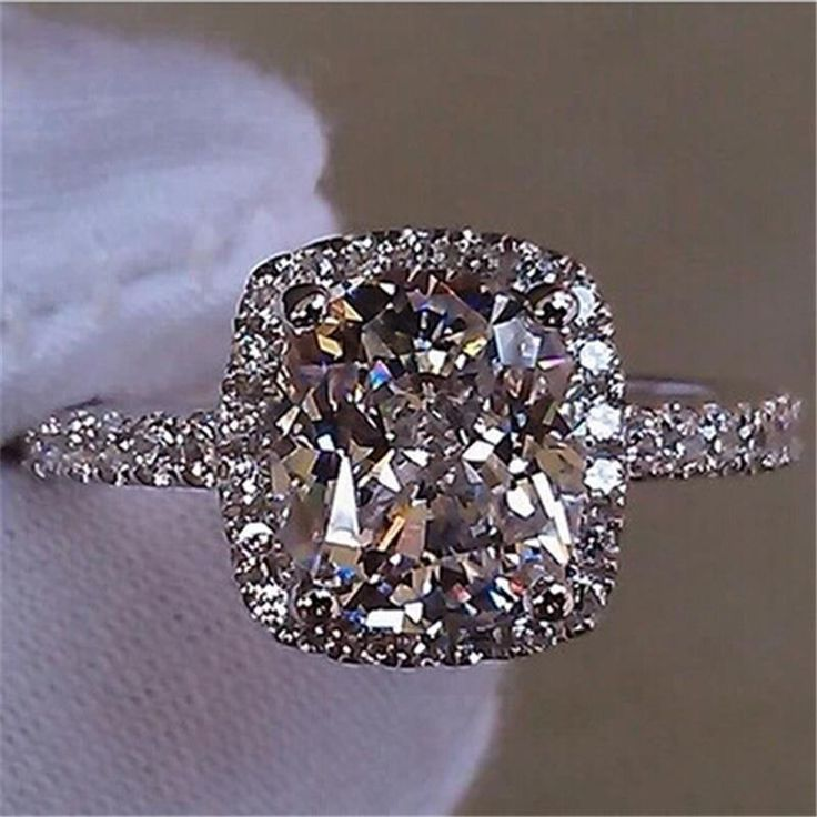 Fashion Show Elegant Temperament Jewelry Womens Girls White Sapphire Silver Filled Wedding Ring