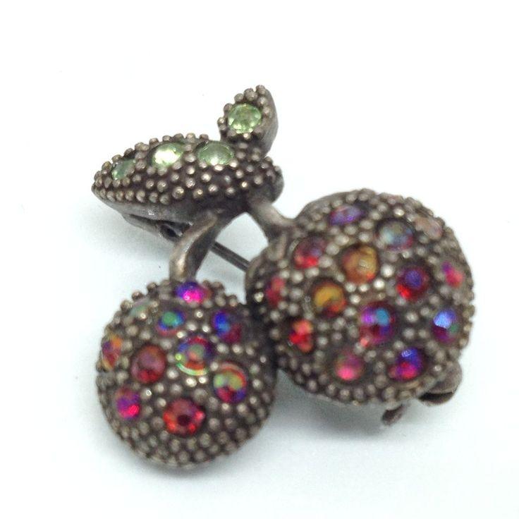 STAR LOGO Vintage CHERRIES BROOCH PIN Red AB Rhinestone Black Tone Fruit Jewelry    eBay