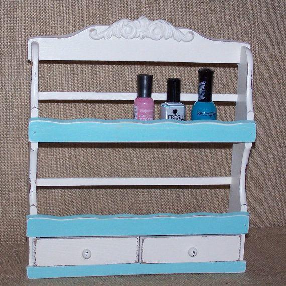 aqua nail polish rack vintage spice rack by ReVampedChicDesigns
