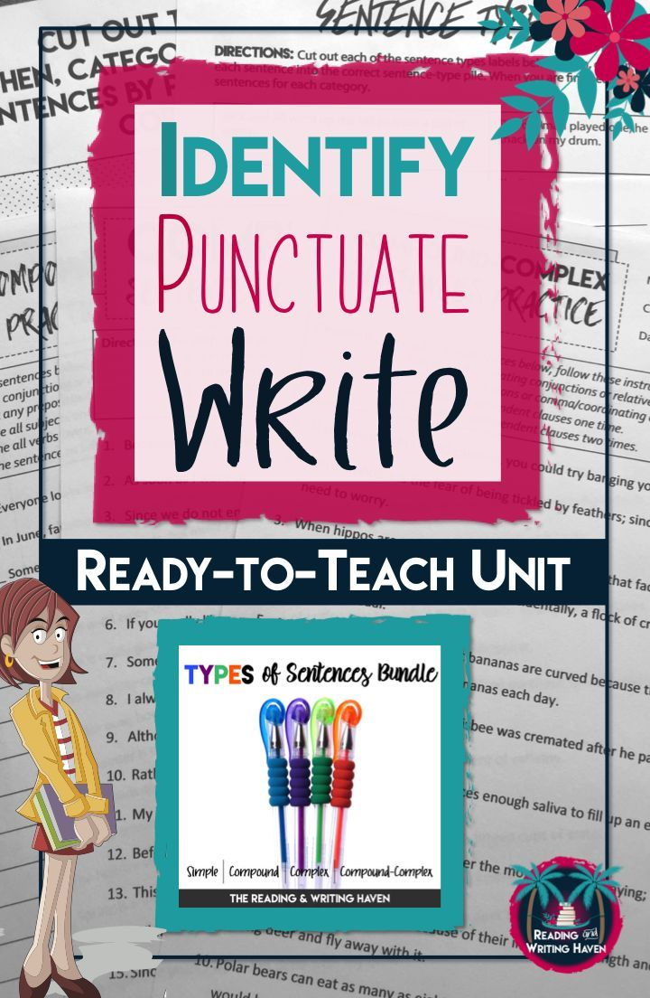 Teaching types of sentences? Try this sentence construction unit for middle or high school. Complete sentence types grammar unit with lessons on simple, compound, complex, and compound-complex sentences from Reading and Writing Haven.