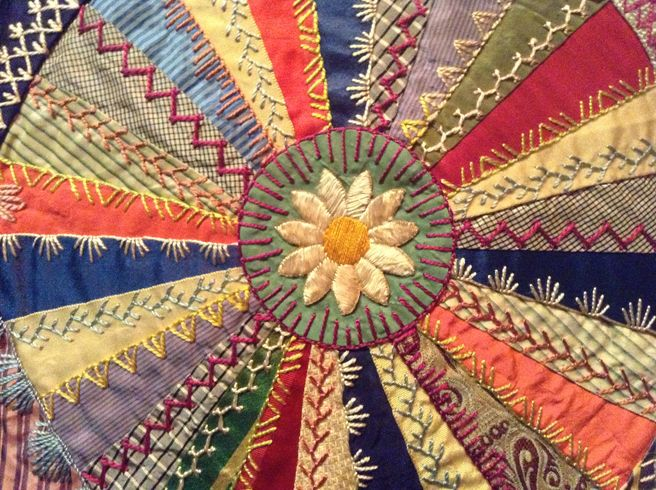 Elizabeth Parkhurst Williams Crazy Quilt 1884-90 Daisy.  CQ Vintage, silk, fan