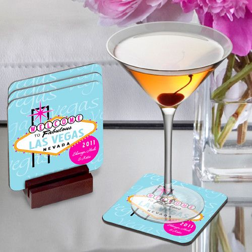 Personalized Girls Las Vegas Coasters Blue Design