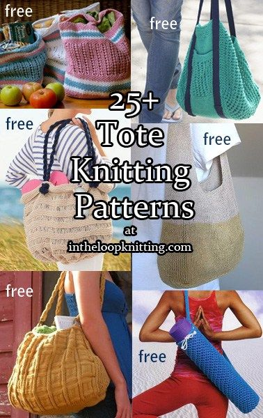 Free knitting patterns for Tote bags - Tote bags are great when you need to carry more than a phone and a credit card. These totes range from collapsible market totes to dressy bags to beach carryalls.