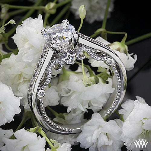 Verragio Beaded Channel Set Diamond Engagement Ring - INS-7064R - Verragio Insignia Collection. Features 0.60ctw of Round Brilliant Diamond Melee (F/G VS).