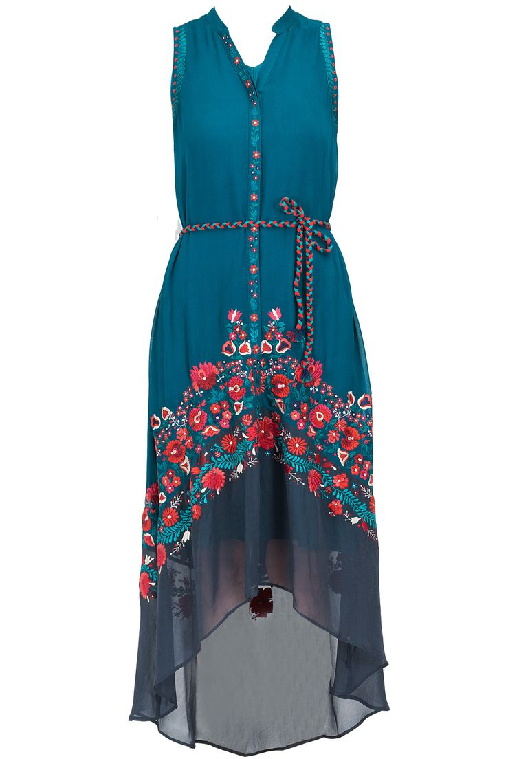 Teal embroidered tunic available only at Pernia's Pop-Up Shop.