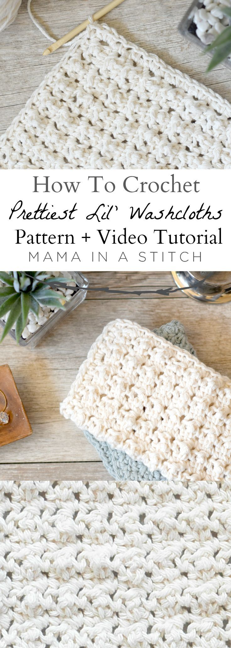 Prettiest Lil' Crocheted Washcloths via /MamaInAStitch/. This free crochet pattern and video tutorial shows you how to make pretty washcloths! They are really easy and have a bubbly texture. #diy #crafts ,  Mary Gottwalt | Mary's Cute & Cozy Crochet