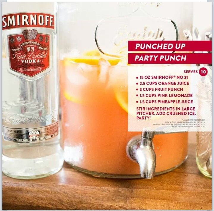 Smirnoff party punch drinks pinterest smirnoff for Delicious drink recipes with vodka