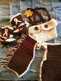 Free crochet patterns for cowboy hat, boots with spurs, diaper cover with suspenders, and chaps. Infant size