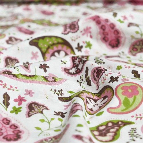 Tkanina bawełniana Flower Paisley in White Blend Fabrics