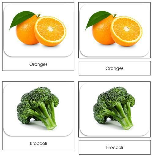 Fruits and Vegetables Safari Toob Cards - printable cards by Montessori Print Shop