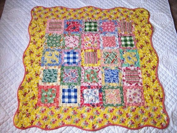 Springtime Feedsack Lap Baby Quilt by quiltymcquilterson on Etsy, $150.00