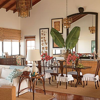 A dining room in St. Kitts sports West Indies style.