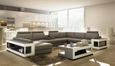 VGEV5080-Divani Casa 5080 Grey and White Bonded Leather Sectional Sofa w/ Coffee TableFinishing:Beige and BrownBonded LeatherDimensions:Chaise: W69 Sectional Sofa Sale for $2999