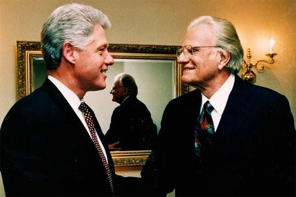 Rev. Billy Graham and President Bill (William Jefferson Blythe) Clinton.