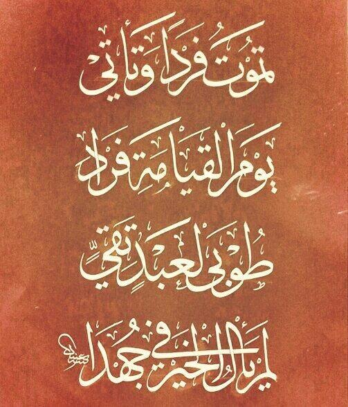 تموت فردا وتأتي * يوم القيامة فردا #الخط_العربي