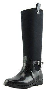 MICHAEL Michael Kors Charm Stretch Women Round Toe Leather Black Rain Boot.
