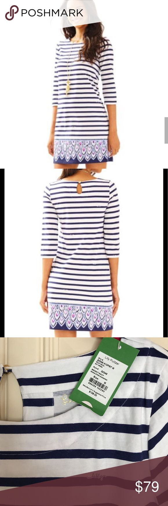 LILLY PULITZER 💙NWT💙Bay Dress-Bright Navy Stripe Print is Serene Stripe Engineered.  Soft and comfy!  Great details.  No weird coloring like the (not good) photo-- it's white!! Lilly Pulitzer Dresses